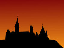Canadian parliament at sunset Stock Photo