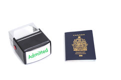 Canadian passport and admitted stamp Royalty Free Stock Image