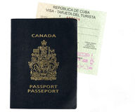 Canadian Passport and Cuban Visa Stock Images
