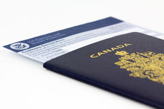 Canadian passport and customs card. stock photography
