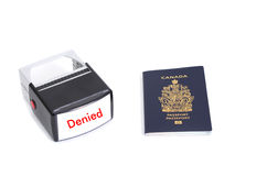 Canadian passport and denied stamp Royalty Free Stock Images