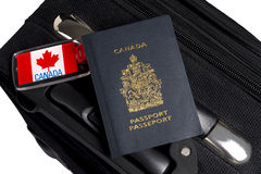 Canadian Passport with Luggage and Tags Royalty Free Stock Images