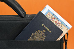 Canadian passport and map. Stock Image