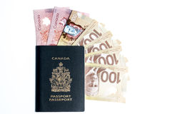 Canadian passport and Money Royalty Free Stock Photography