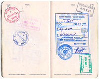 Canadian Passport with Yugoslavian Visa and Stamps. Canadian Passport with Yugoslavian visa and entry stamps from Istanbul, Dubrovnik and Athens Stock Photo