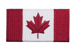 Canadian Patch. An embroidered Canadian flag patch isolated on a white background Royalty Free Stock Images