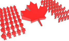 Canadian People 3D Flag. Group of abstract people wearing the colors of Canadian flag Stock Images