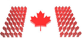 Canadian People Make Flag. Group of people forming the Canadian flag Royalty Free Stock Images