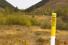 Canadian petroleum pipeline warning markers Stock Photography