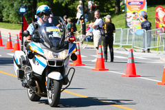 Canadian Police Officer on a motor bike royalty free stock photos