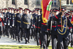 Canadian police officers at parliament hill Stock Photos