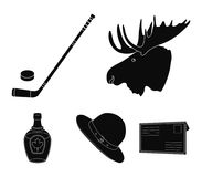 A canadian policeman`s hat, a bottle of maple syrup and other Canadian symbols.Canada set collection icons in black Royalty Free Stock Photos