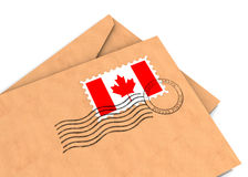Canadian post. Envelopes with the Canadian flag and postage stamps, part of a series Royalty Free Stock Photography