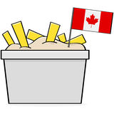 Canadian poutine. Cartoon illustration showing a bowl of the traditional Canadian food called poutine, made of cheese, fries and gravy stock illustration