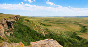Canadian prairie in Southern Alberta, Canada. Prairie as seen in the historic site of Head-Smashed-In Buffalo Jump in Southern Alberta, Canada royalty free stock images