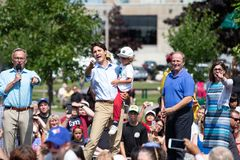 Canadian Prime Minister Justin Trudeau Gestures. Canadian Liberal Leader and Prime Minister Justin Trudeau makes a gesture in Charlottetown, PEI at a rally point stock photography