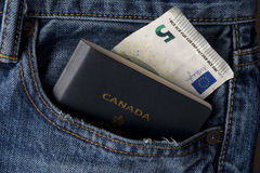 Canadian Ready to Travel with Passport and Euro Ca Stock Photography