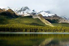 Canadian Rockies. Rockies mountain range reflecting in Maligne lake, Jasper national park stock images