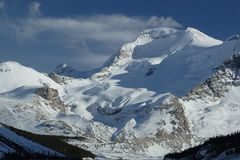 Canadian Rockies. Beautiful snow-clad mountains in Canada near the Columbia ice fields Royalty Free Stock Photography
