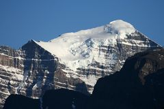 Canadian Rockies. North face of Mount Temple in the Canadian Rockies at Lake Louise royalty free stock photo