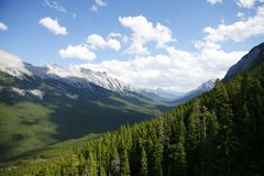 Canadian Rockies. Canadian Rocky Mountains scenic view on a beautiful day near Banff, Alberta Stock Image