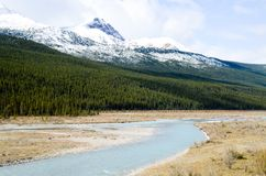 Canadian Rockies, Autumn Scenery of Icefields Parkway. Athabasca River and Mountain range, Alberta, Canada stock photos
