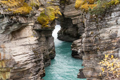 Canadian Rockies, Banff National Park. Athabasca Falls outlet Stock Photos