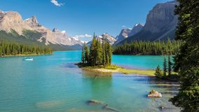 Canadian Rockies. Beautiful Spirit Island in Maligne Lake, Jasper National Park, Alberta, Canada stock images
