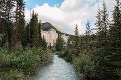 Canadian Rockies Fairmont Chateau Lake Louise. Luxury hotel royalty free stock photo