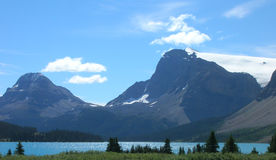 Canadian Rockies grass lake mountain Stock Images