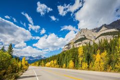 Canadian Rockies, Great Banff. Excellent highway and surrounded by autumnal woods. Travel to the Bow River Canyon in September.  Canadian Rockies, Great Banff royalty free stock image