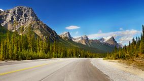 Canadian Rockies Highway, Scenic Mountain Landscape. Amazing mountain landscape scenery, Scenic route - Icefield Parkway road. Canadian Rockies. Wallpaper Royalty Free Stock Photography