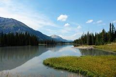 Canadian rockies and lake. View of canadian rockies and lake in kananaskis, alberta Stock Images