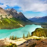 Canadian Rockies and Lake, Banff NP, Sunrise Scenery. Scenic mountains and Peyto Lake in Canadian Rockies. Canadian landscape, Banff NP, summer sunrise scenery stock photography