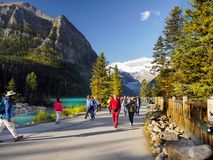 Canadian Rockies, Lake Louise, Banff National Park. Canadian Rockies - Lake Louise and tourists Stock Image