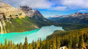 Canada, Banff National Park, Mountains Peyto Lake Panorama. Beautiful Peyto Lake and mountains panorama view in Canadian Rockies. Banff National Park, Canada Royalty Free Stock Photography