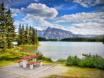 Canadian Rockies, Landscape Lake Mountains Stock Photo
