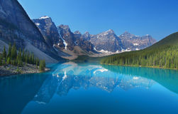 The Canadian Rockies. Moraine Lake in Banff National Park in the Canadian Rocky Mountains Royalty Free Stock Photo
