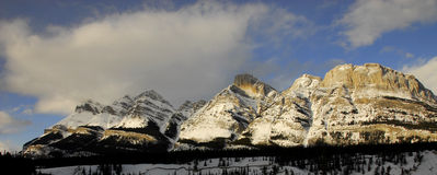 Canadian Rockies Panomrama. A beautiful Panoramic picture of the Canadian rockies of Jasper national park during the winter. Alberta, Canada stock photos