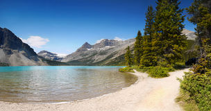 Canadian Rockies Panorama, Bow Lake Royalty Free Stock Photography