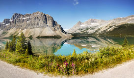 Canadian Rockies Panorama, Bow Lake. Panorama view - Bow Lake and Crowfoot Mountain, Canadian Rockies, Banff NP, Alberta, Canada stock photography