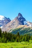Canadian Rockies at Parker Ridge in Jasper National Park. Hilda Peak as viewed from Parker Ridge hiking trail in Jasper National Park on the Icefields Parkway stock images
