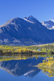 Canadian Rockies reflected in lake near Waterton National Park stock photo