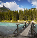 Canadian Rockies River Waterfowl Campground Banff. Trail bridge across the Mistaya River to Waterfowl Campground. Banff National Park  Canada Royalty Free Stock Photo