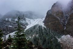 Canadian Rockies snowing stock photo