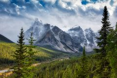 Canadian Rockies snowing. Dramatic shot of a snow storm in the Canadian Rockies royalty free stock photography