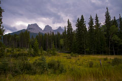 Canadian Rockies. Three Sisters Mountains in Canmore, Alberta, Canada Royalty Free Stock Image