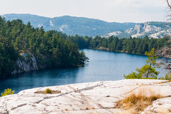 Canadian rocky lake. Surrounded by mountains and forest Royalty Free Stock Photography