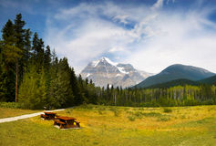 Canadian Rocky Mountain Parks, Mount Robson. Mount Robson (3.954m) view. Canadian Rocky Mountain Parks. British Columbia Canada stock images