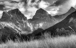 Canadian Rocky Mountains. Three Sisters in the Rockies at Canmore Alberta Stock Photo